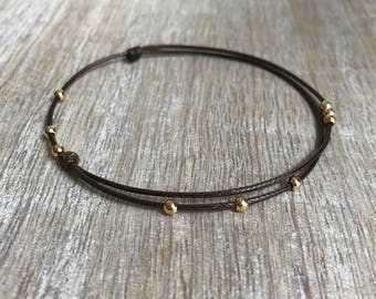 Brown Beaded Anklet, Waxed Cord Anklet, Adjustable Anklet, Waterproof WA001460