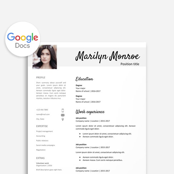 resume template for google docs with profile picture