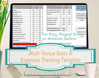 Multi-Venue Sales and Expenses Spreadsheet, Summarizes Etsy & Paypal CSV in an Excel Template