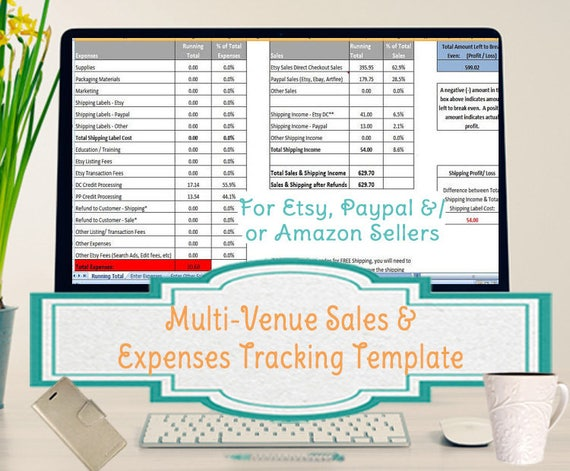 Multi Venue Sales And Expenses Spreadsheet Summarizes Etsy Paypal