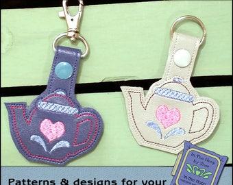 ITH Teapot Key Fob - Bag Tag - Vinyl Key Fob with Snap Tab - Machine Embroidery Design