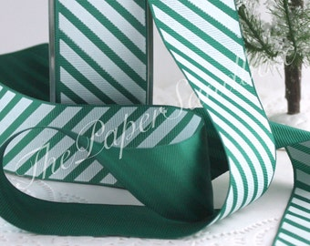 """Green & White Striped Ribbon, 1.5"""" wide by the yard, Candy Cane Stripe Ribbon, Christmas Ribbon, Gift Ribbon, Party Supplies"""