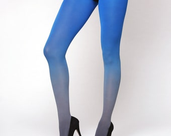 Grey-blue ombre tights. Opaque tights. Gift for her. Tights for women.