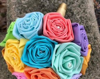 Pastel Fabric Flower Wedding Bouquet, Alternative Wedding Bouquet, Rainbow Flower Wedding Bouquet, Rainbow Wedding Bouquet, Pastel Wedding