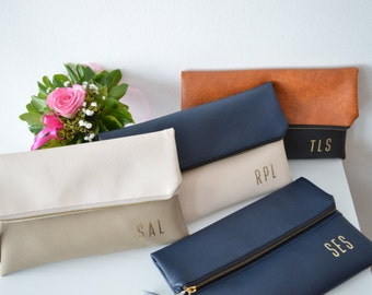 4 foldover monogrammed bridesmaids gifts, Set of 4 clutches for wedding, Imprinted gold initials clutch