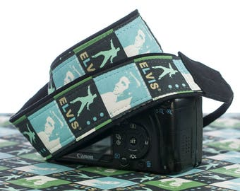 Blue Elvis Camera Strap, dSLR, SLR, Canon, Nikon, Mirrorless, Camera Neck Strap, Padded, Pocket, Photographer Gift,  180