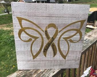 Wood Childhood Cancer Awareness Door Hanger
