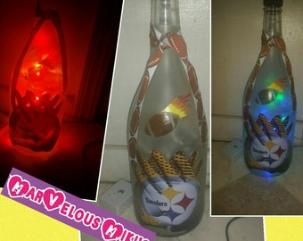 Upcycle bottle lamp--- Pittsburgh steelers!! Football