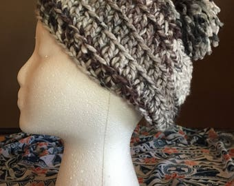 Slouchy Crocheted Beanie Hat