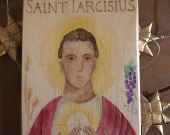 Saint Tarcisius Hand Painted Wood Block Icon READY TO SHIP