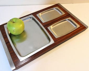 Mid Century Danish Modern Wood and Stainless H'Oeuvre Appetizer Tray - Vintage 3 Compartment Snack Platter Tray - Relish Tray