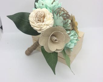 Mint green bouquet- Small- VASE INCLUDED