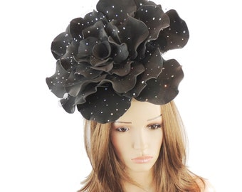 Stunning Black Parisa Large Rose Fascinator Hatinator Hat for Kentucky Derby & Ascot, Special Events With Headband