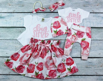 Matching big sister little sister outfits/coming home outfit/ baby girl/organic cotton