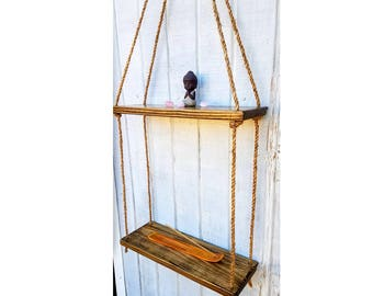 Double Floating Shelves   Reclaimed Wood  2 Tier Rope Shelves   Suspended  Shelves   Rustic