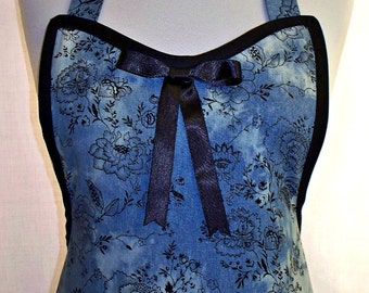 Apron Denim with Black Floral Stunning Design, Sexy Special Unique Hostess Pretty Party Kitchen Gift