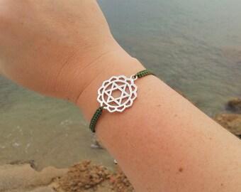 HEART CHAKRA bracelet in Tibetan silver and macrame cord. FOURTH Chakra Bracelet. Handmade. Choose your color!