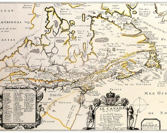 Antique Map of Canada; Roy, 1677; Custom Printed to Order