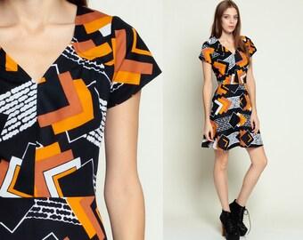 Geometric Dress 70s Mini PSYCHEDELIC Black Mod Hippie Orange SQUARE Print 1970s Boho Button Up Vintage Bohemian High Waist Skater Small