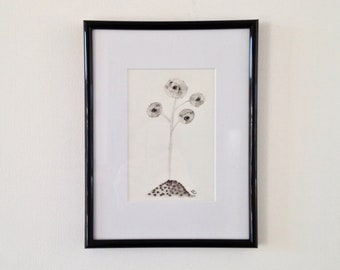 The poppies of the Moon, ink and wash