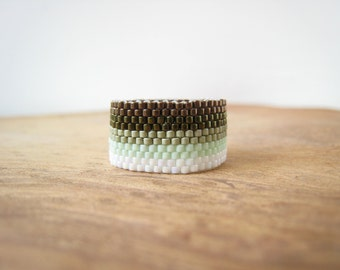 Bronze and Green Ombre Design, Beaded Band Ring, Hand-stitched