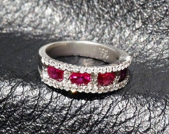 Platinum Ruby Diamond Ring, Natural Rubies, Wedding, Engagement, Stack