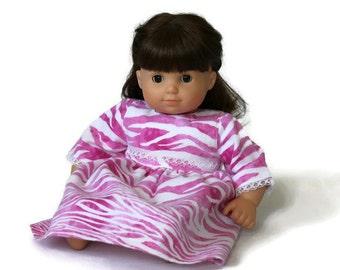 Rosa Puppe Nachthemd Zebra Streifen Druck weiß Flanell Pyjama Nachthemd Spitze Bitty Twin 14 bis 16 Zoll-Baby-Doll - uns Versand enthalten