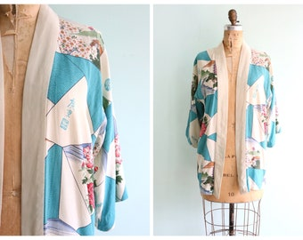 Vintage 1950's Japanese Print Silk Jacket | Size Medium