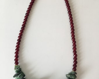 Ruby in Zoisite necklace - glass beads