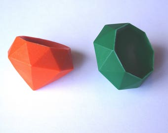 2 Gem Crayons - Emerald and Citrine -  Orange and Green - Novelty Crayons - RECYCLED