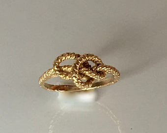 Vintage love knot ring, solid 14k yellow gold