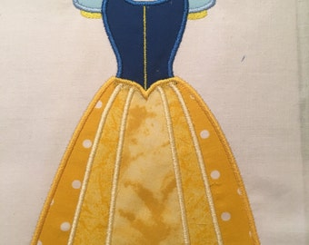 Disney Snow White Dress MACHINE Applique Pattern - Inspired by Disney's Snow White & the Seven Dwarves