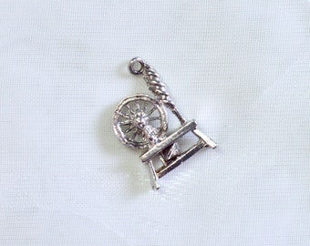 Tiny Spinning Wheel - Vintage Sterling Silver Pendant/Charm - Unique Statement Piece