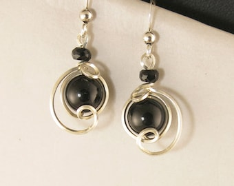 Black Onyx Small Dangle Drop Earrings, Unique Sterling Silver Wire Wrapped Black Stone Earrings, Small Black Silver Earrings
