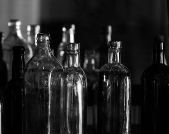 Vintage Bottles Print - Dark Still Life Fine Art Photograph - Black and White Photography - Irish Whiskey
