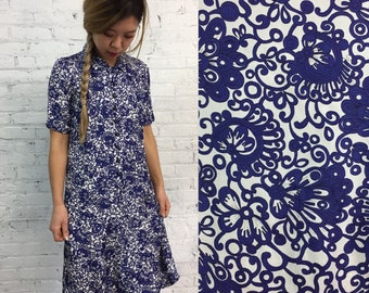 vintage 60s button down babydoll dress / blue floral shirt dress / 1960s mod dress