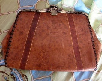 1920's Reedcraft Brown Leather Clutch Purse