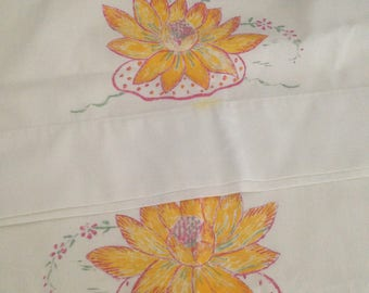 Set of Standard Monticello by Cannon Hand Painted Pillowcases