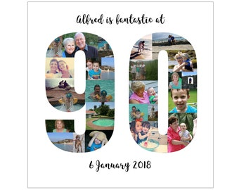 Personalised 90th Birthday Photo Collage Digital File
