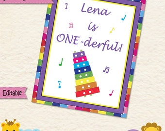 Music Party • ONE derful sign • Birthday • Sign • Zylophone • First Birthday • 1st Birthday • Baby Girl • Music • Notes • 034mg2