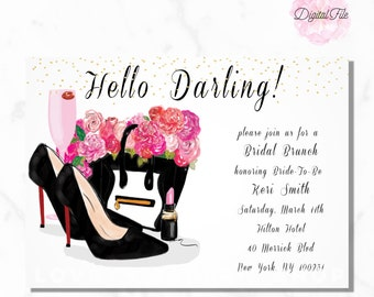 Hello Darling Digital BRIDAL SHOWER INVITATION Pink Peony Black Gold Luxe Fashion Illustration Printable Chic Bridal Shower Invite diy