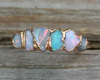 Raw gemstone ring / Raw opal ring / Gift for wife / unique jewelry for her/  opal ring / October birthstone / Anniversary gift