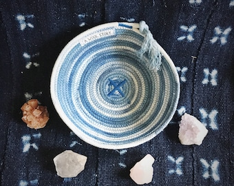 medium variegated indigo dyed rope bowl // natural indigo dyed // handmade in detroit // 100% cotton rope basket rope dish // ethically made