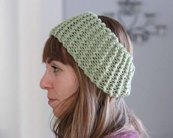Green Headband - Womens Knit Headband - Knit Messy Bun Hat - Chunky Knit Winter Headband - Knit Hairband - Winter Hair Accessories