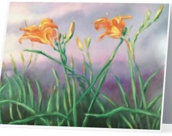 Orange Day Lilly Note Cards Set of 5 with Envelopes