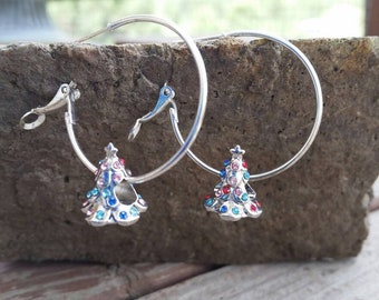 Silver and Multi Color Rainbow Rhinestone Christmas Tree charm Hoop Earrings with Large Hole Eurpoean Bead Charm Accents - Gifts for her