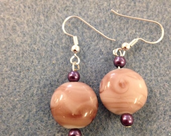 Pink and Purple Beaded Earring