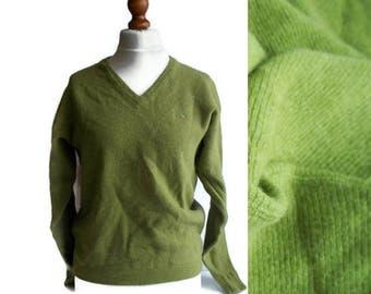 Vintage Wool Sweater, Vintage Mens sweater, Lambswool sweater, Green sweater, Vintage Pullover, Size M