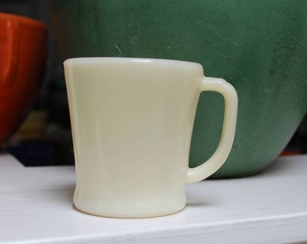 Fire King Mug D handle Restaurant Coffee Ivory Flat Bottom Glass Oven Ware Anchor Hocking White VINTAGE by Plantdreaming