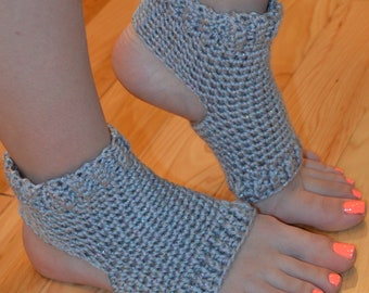 New!!!!  Gray Sparkly Crocheted Yoga/Pilates/Dance/Pedicure/Flip Flop Socks (THICK-AVERAGE SIZE)